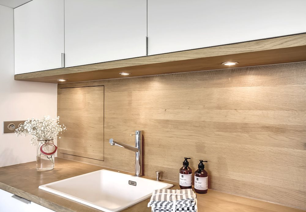 Wooden backsplash, from Atelier daaa