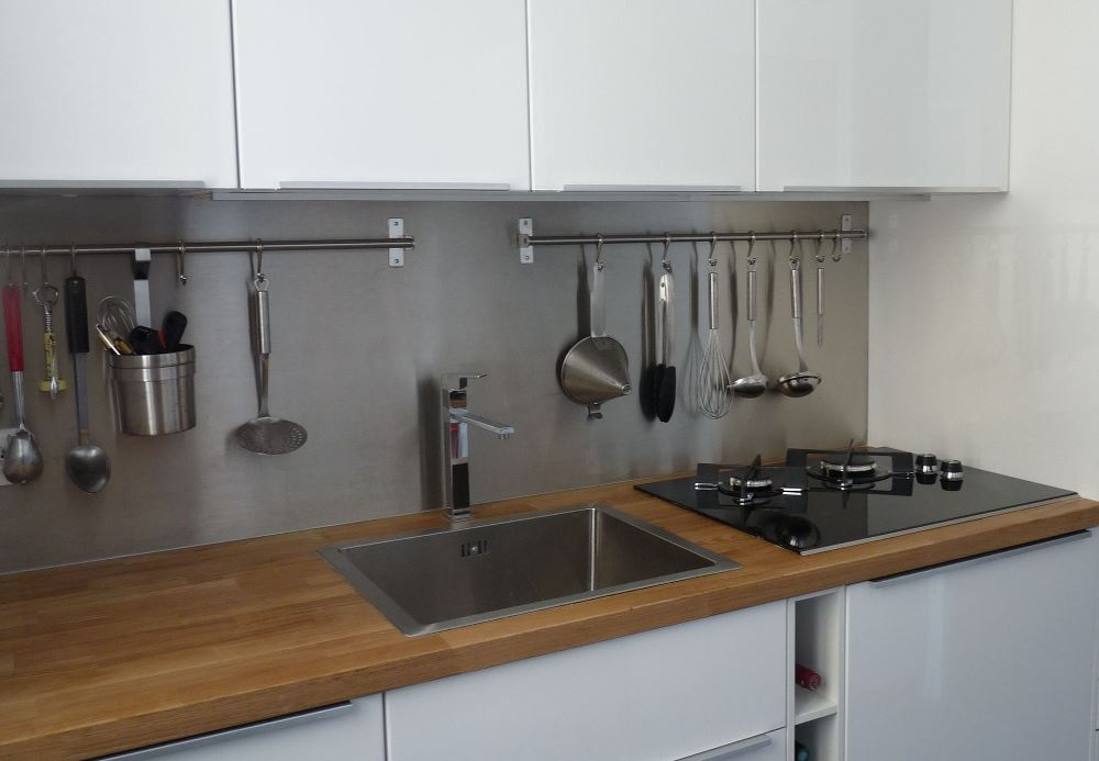 Stainless steel backsplash, from Thomas Jenny