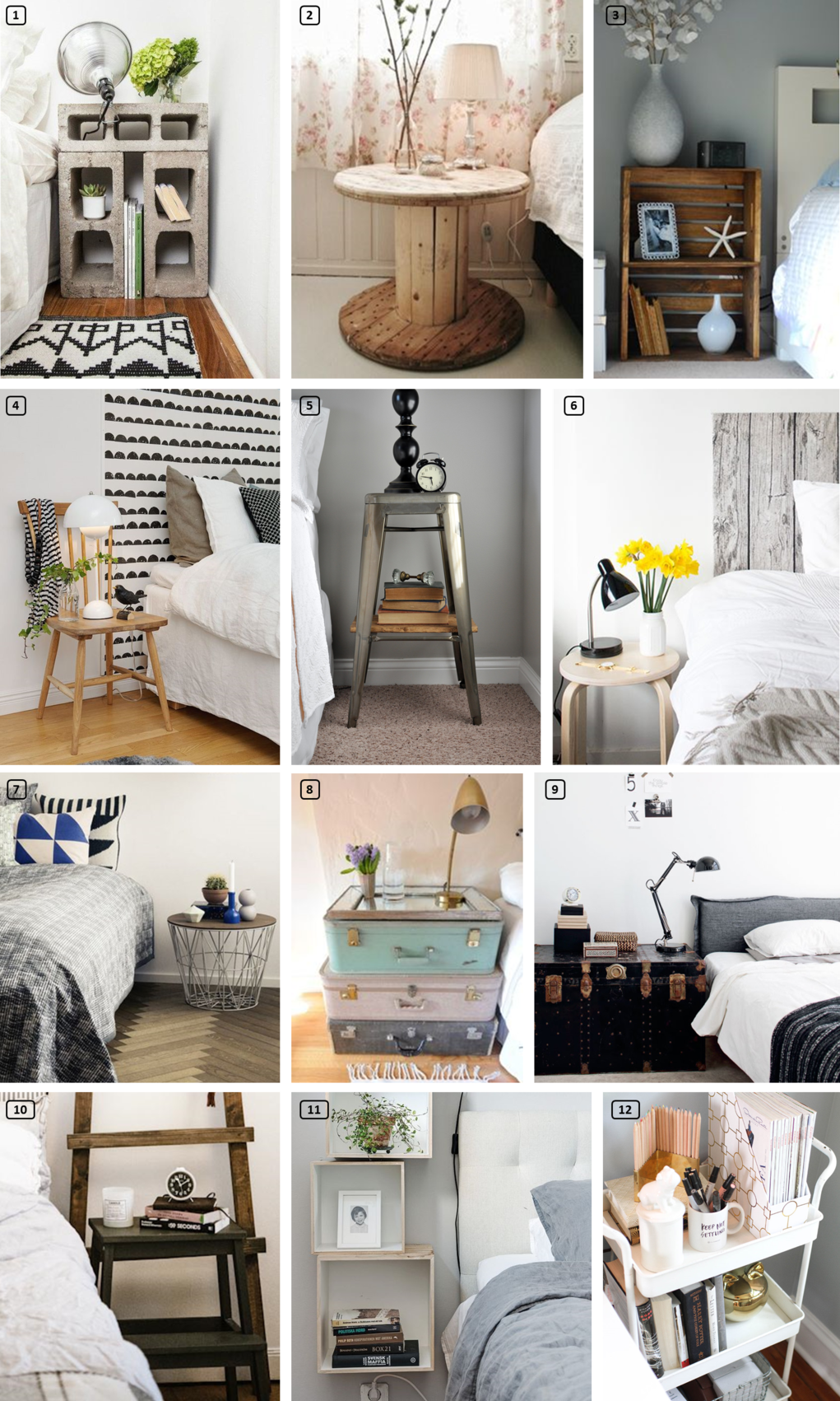 23 creative bedside tables for your rental bnbstaging le blog. Black Bedroom Furniture Sets. Home Design Ideas