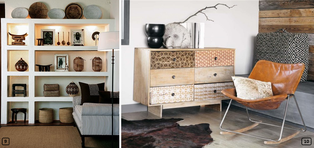 African decor with artisanal objects and furniture