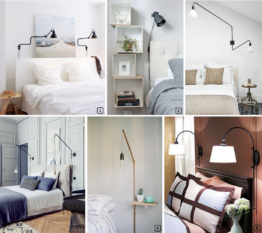Different models of wall lamps in the bedroom