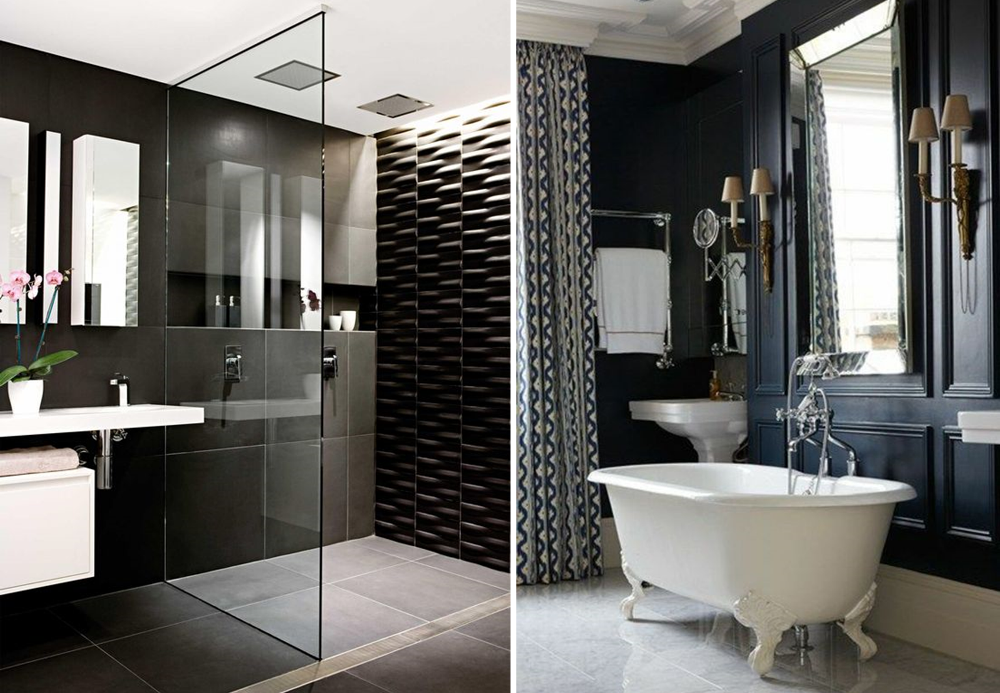 Black bathrooms in a modern style and a retro one