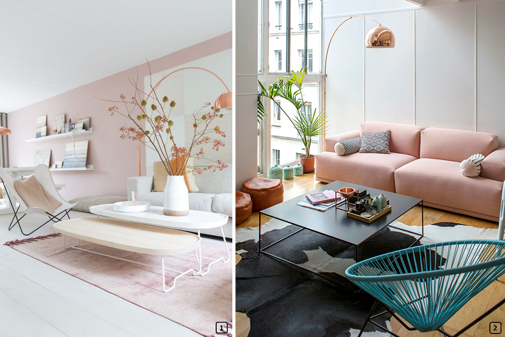 Blush colour in living rooms