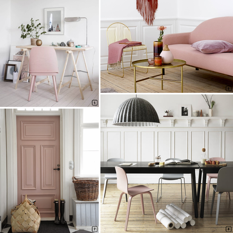 Furniture and accessories in blush colour