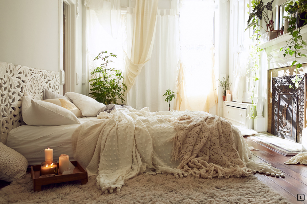 White decoration for a romantic bohemian style bedroom
