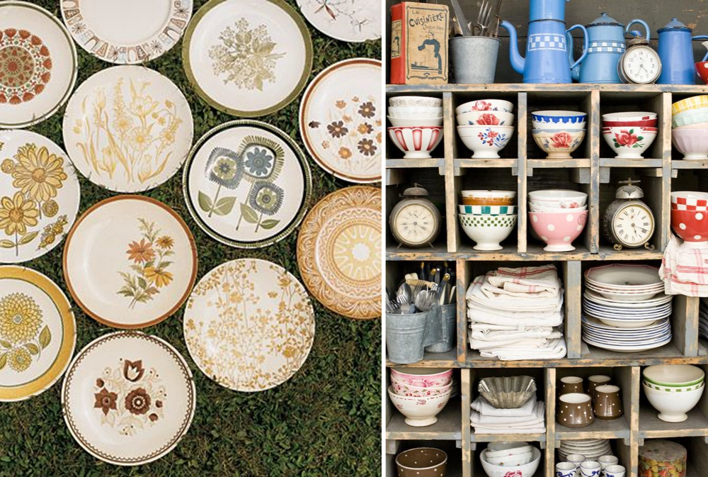 Old dishware to buy in flea markets
