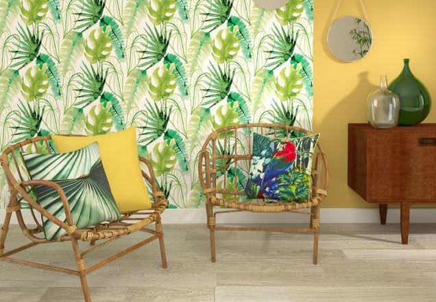 Jungle style with palm patterned wallpaper