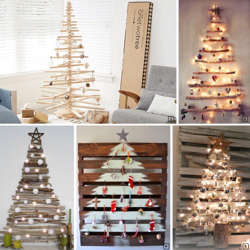Creative wooden christmas trees in DIY