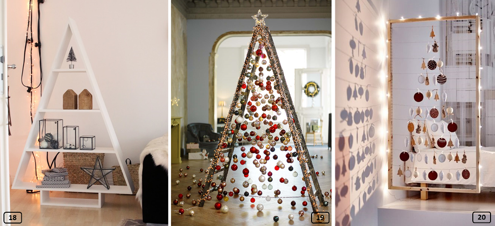 Creative Christmas trees made with storage furniture