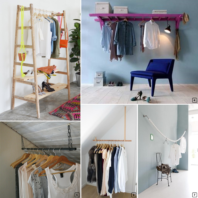 Clothing racks with ladders, pipping and wooden garland