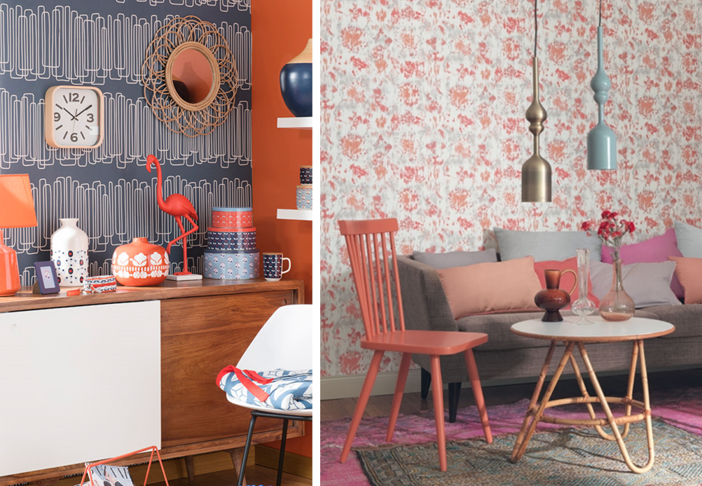 Vintage spirit in a home with coral colour