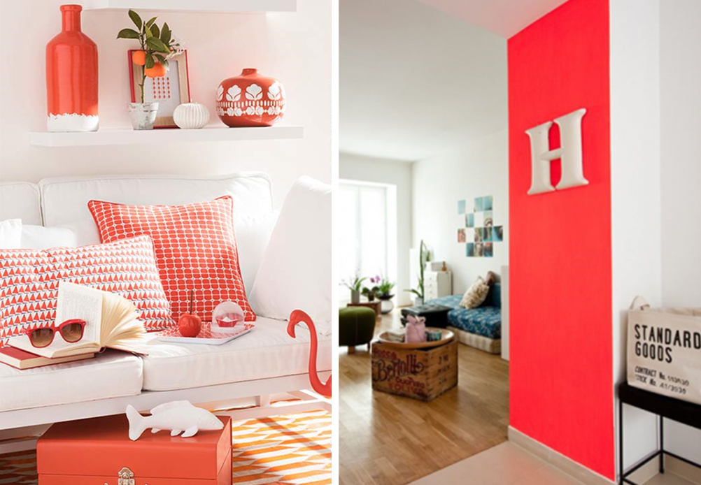 Vibrant atmosphere in a home with coral colour
