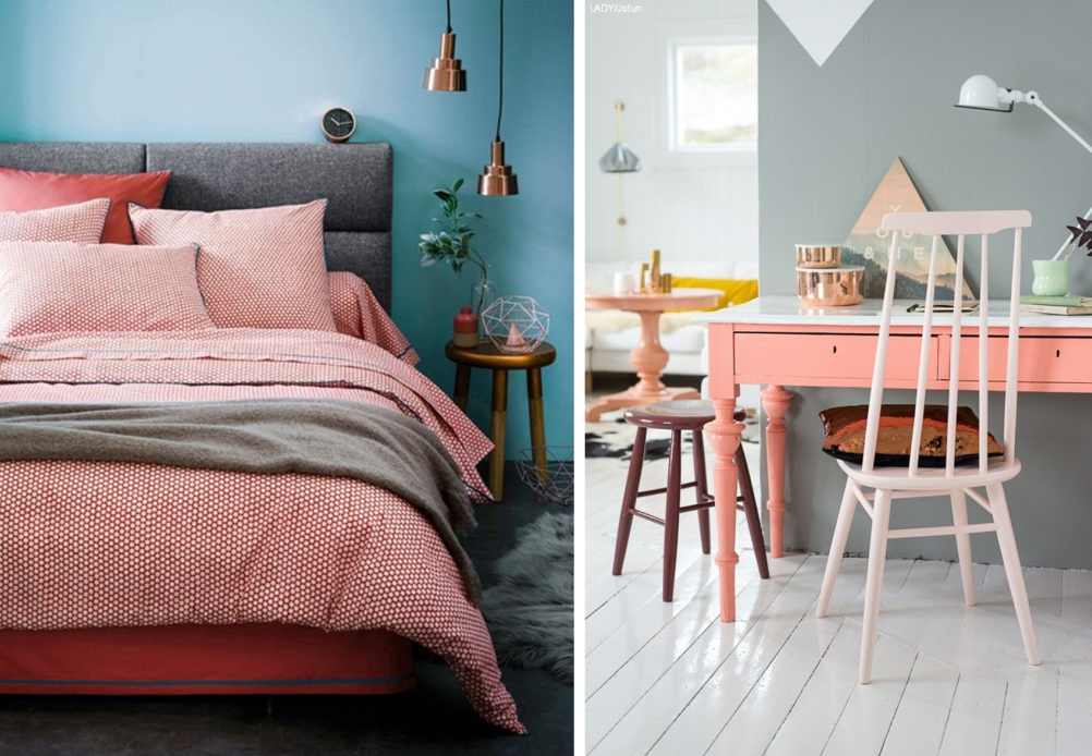 Coral furniture and accessories with pastel walls