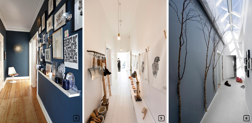 Decorated corridors with photo frames, branches and accessories