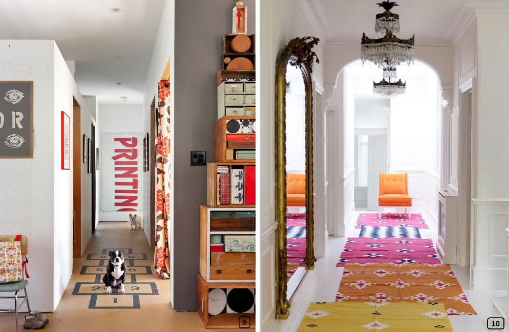 Decorated corridors with many rugs and with a hopscotch