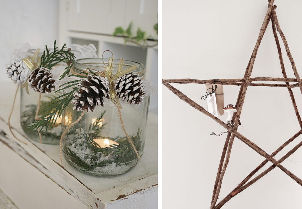 Christmas decorations with pine cones and dead branches