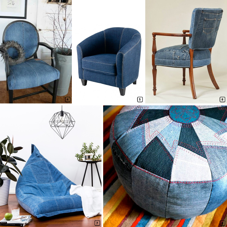 Elegant Three Sofas Made With Jeans Chairs, Poufs, Seats Made With Jeans