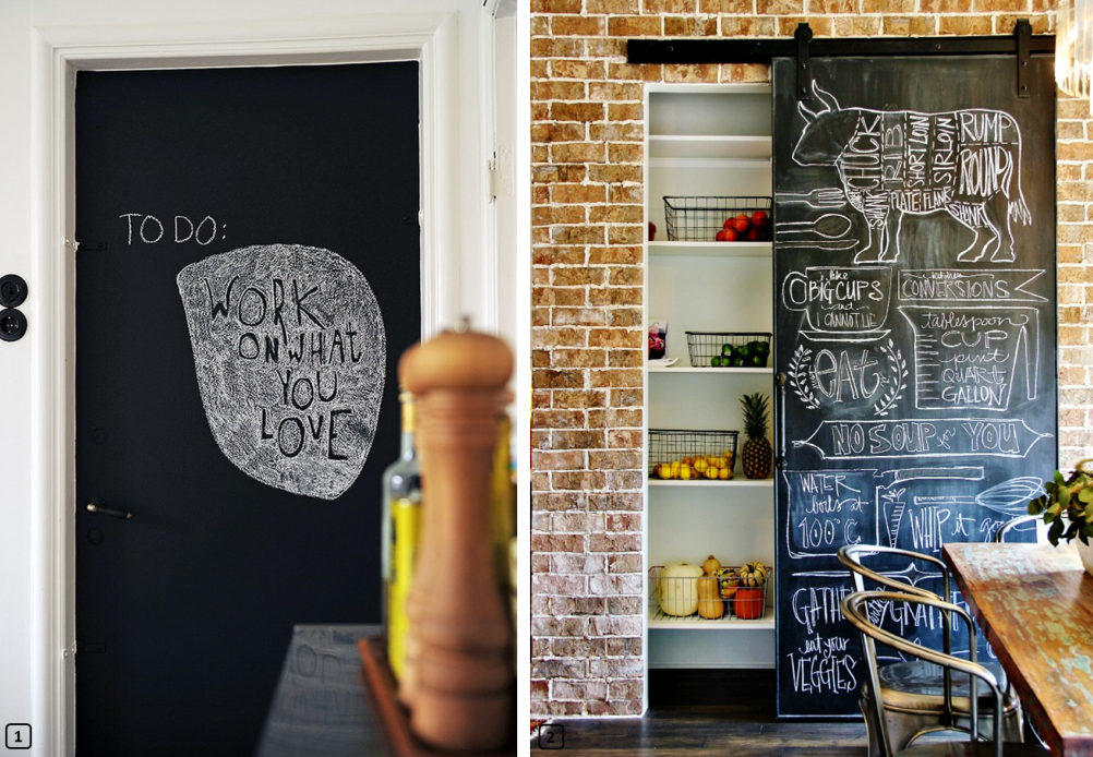 Decorative doors with chalkboard paint