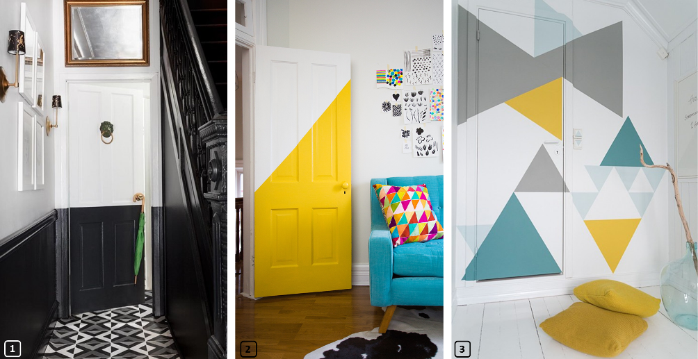 Decorative doors with black, yellow paint and geometrical patterns
