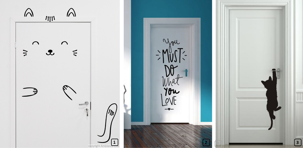 Customized doors with black and white stickers