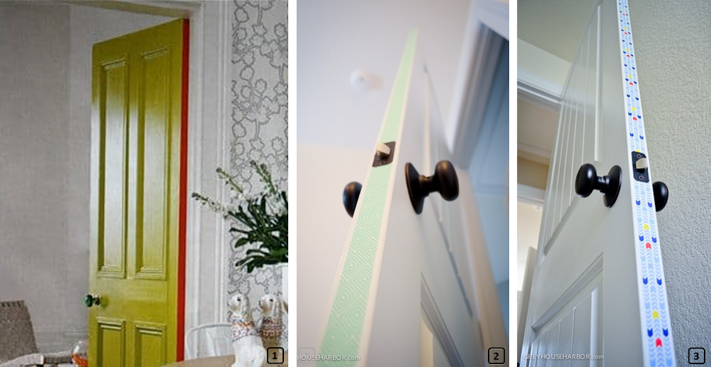 Customized doors with washi tape along the inside edge
