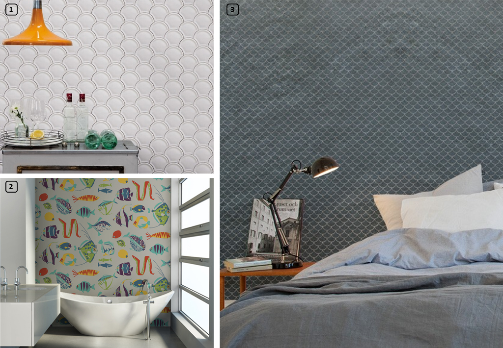 Wallpaper with printed fish and scales motifs