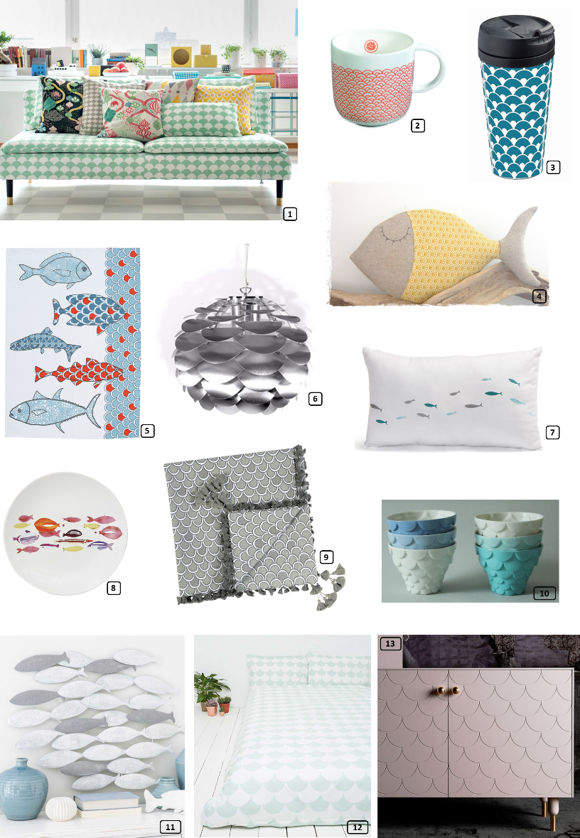 Decor trend, printed fish and scales motifs for the home