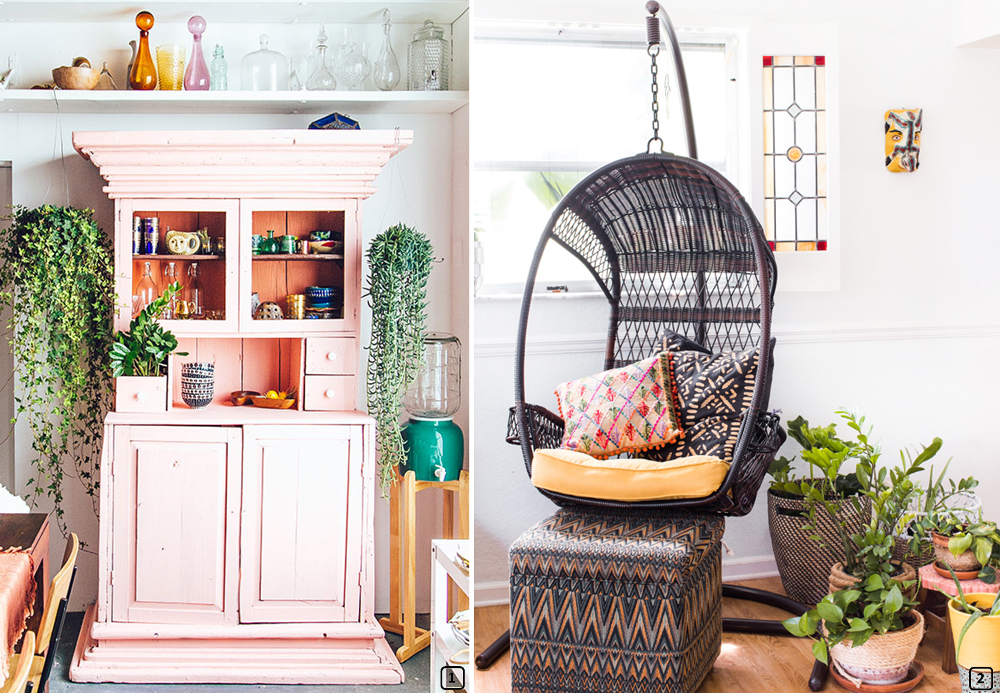 Eclectic furniture with pink buffet and rattan chair