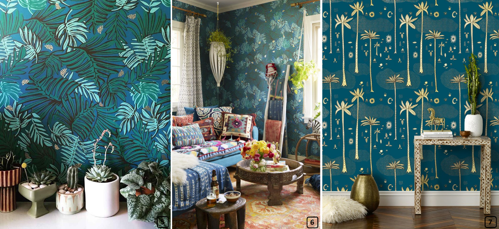 Wallpaper with exotic prints