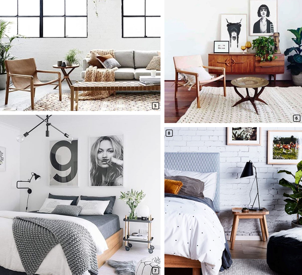 Kinfolk style in interiors, in living rooms and bedrooms