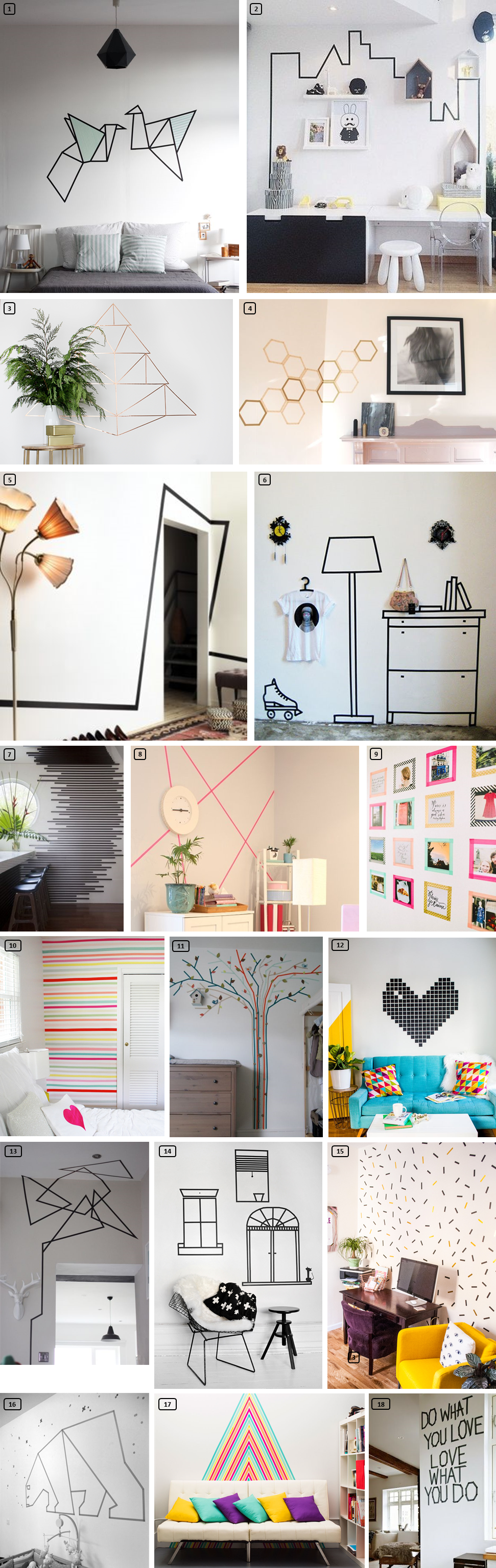 18 ideas of black and colored masking tape on white walls