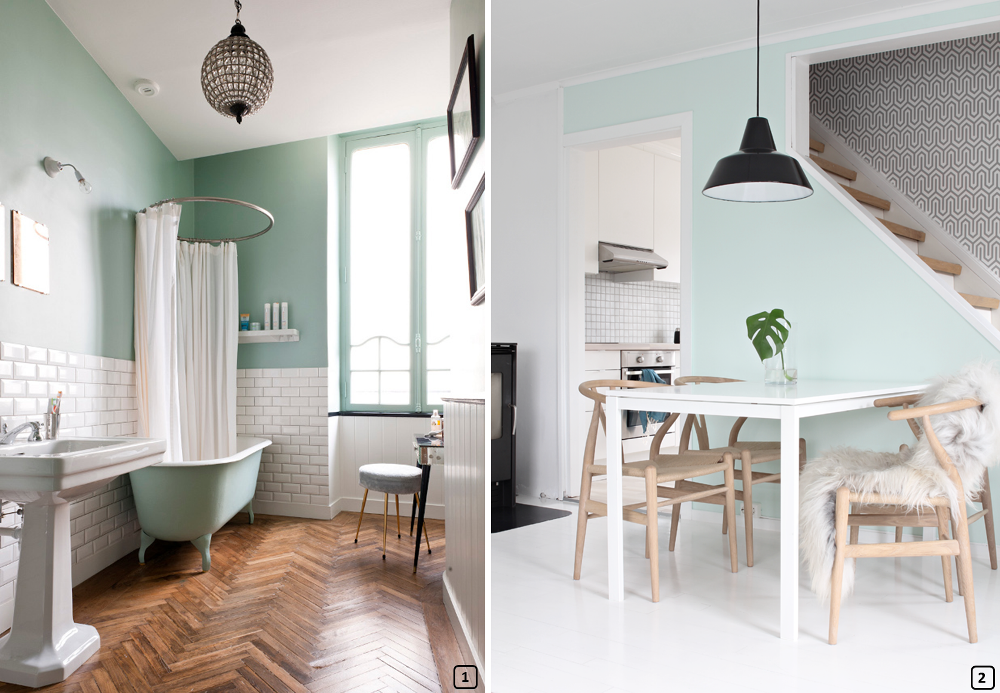Mint colour in old and contemporary homes