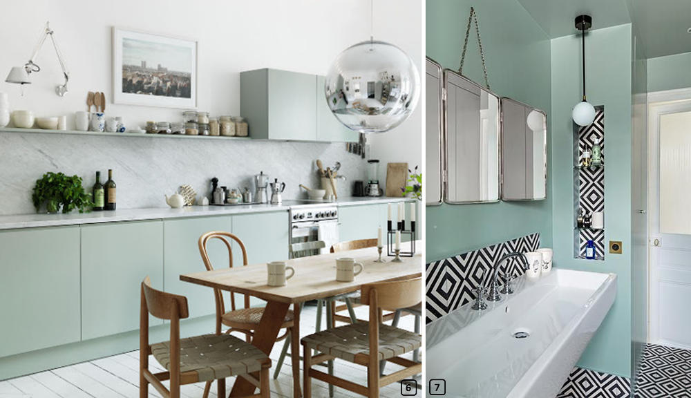 Mint colour in kitchens