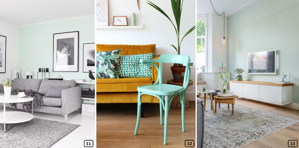 Mint colour in various home styles