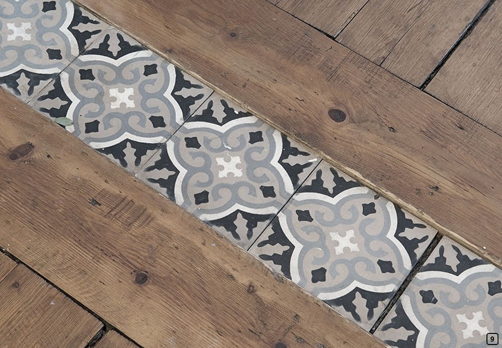 Floor connectors with tiles between wood parquet
