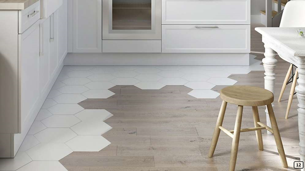 Graphic design decor with mixed flooring in the kitchen