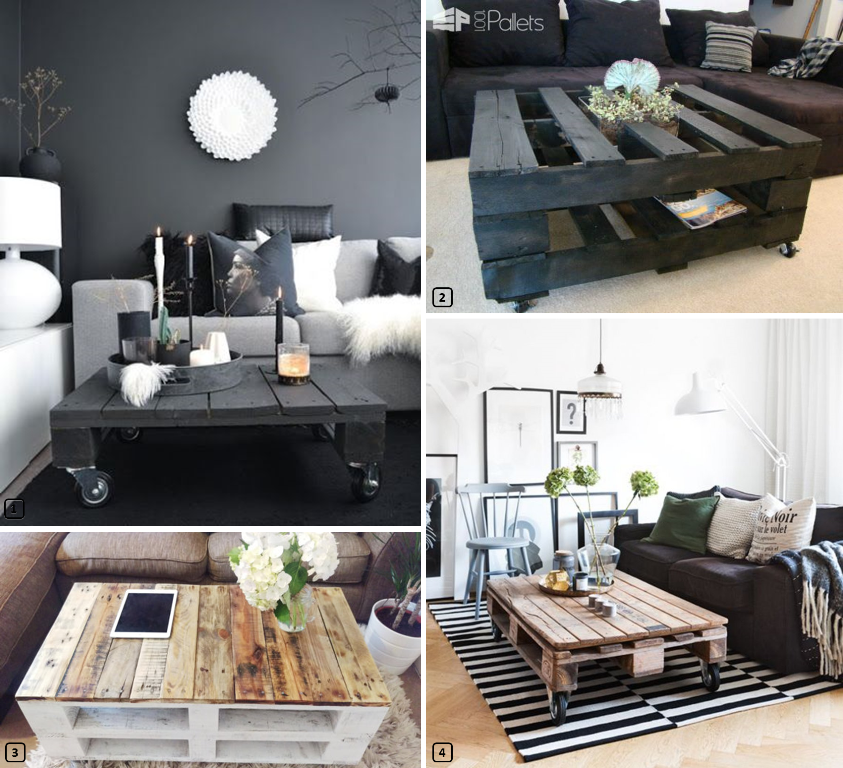 4 coffee tables in a living room made out of wooden pallets