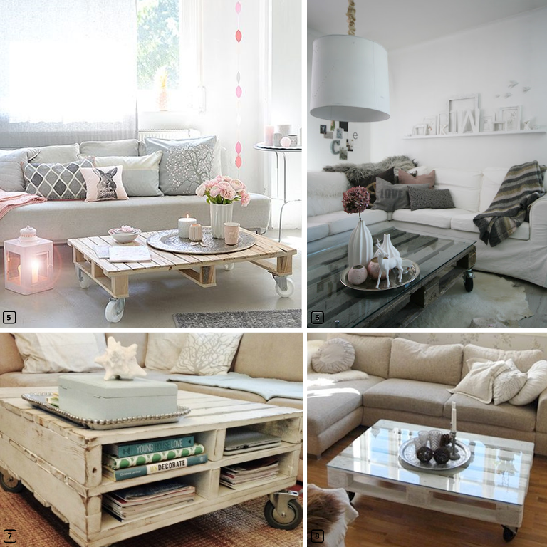 4 coffee tables made out of pallets in living rooms