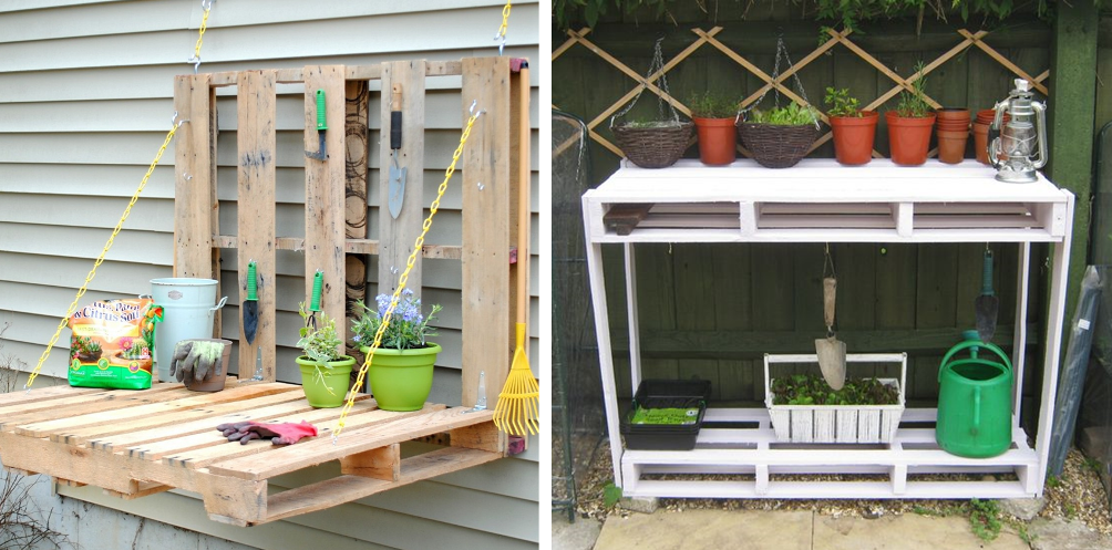 A garden workshop made of wooden pallets