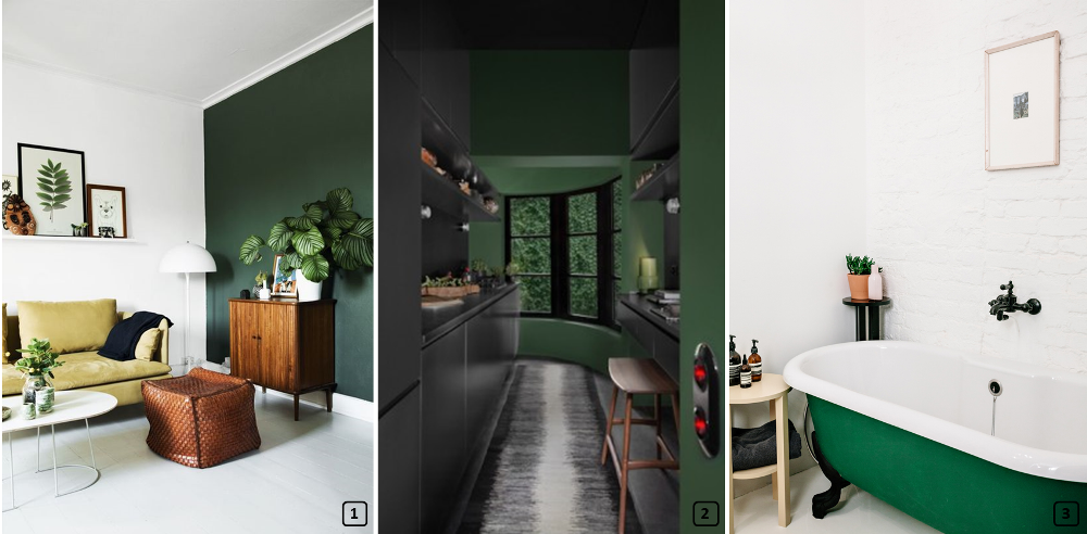 Pine green color on walls and on a bathtub