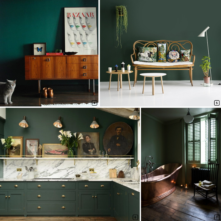 Pine green color paired with wood, rattan, marble and cooper