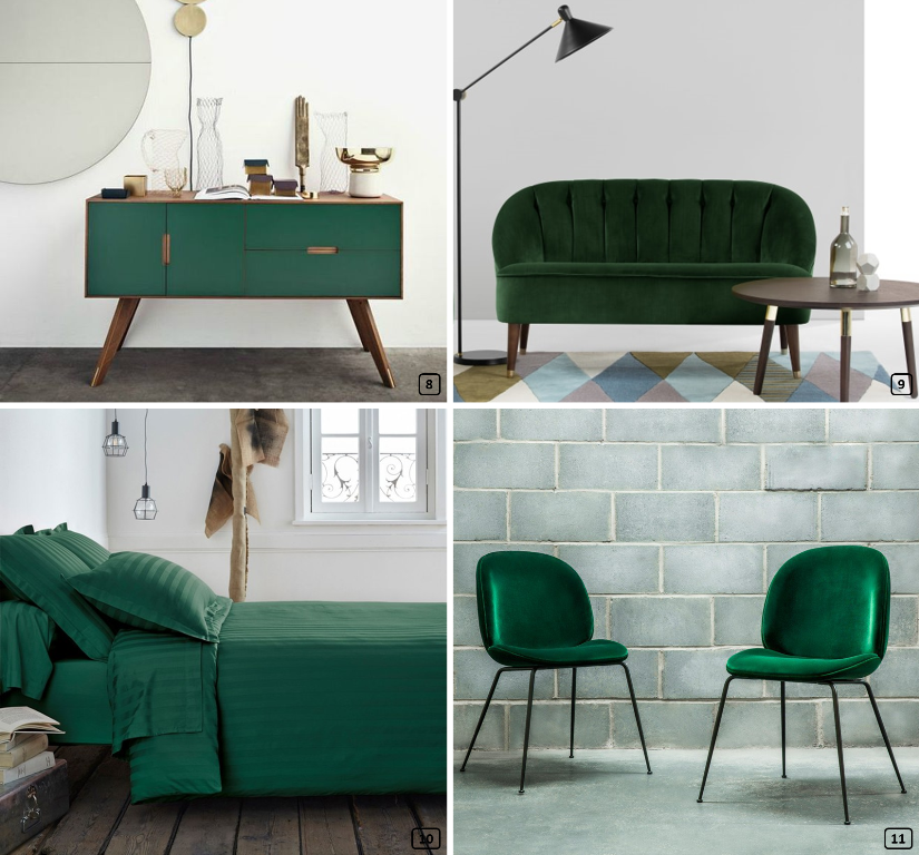 Pine green color on furniture and textiles
