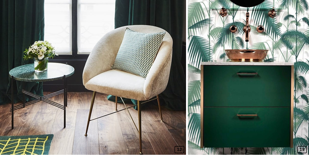 Pine green color on textiles and furniture