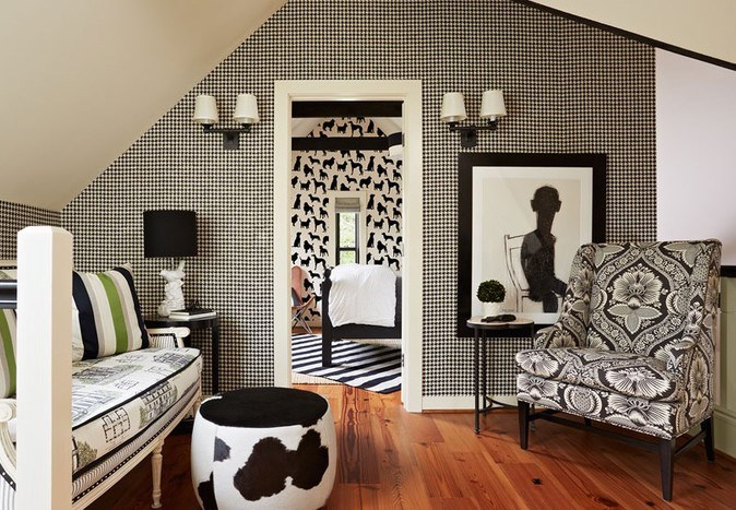 Black and white room with different patterns