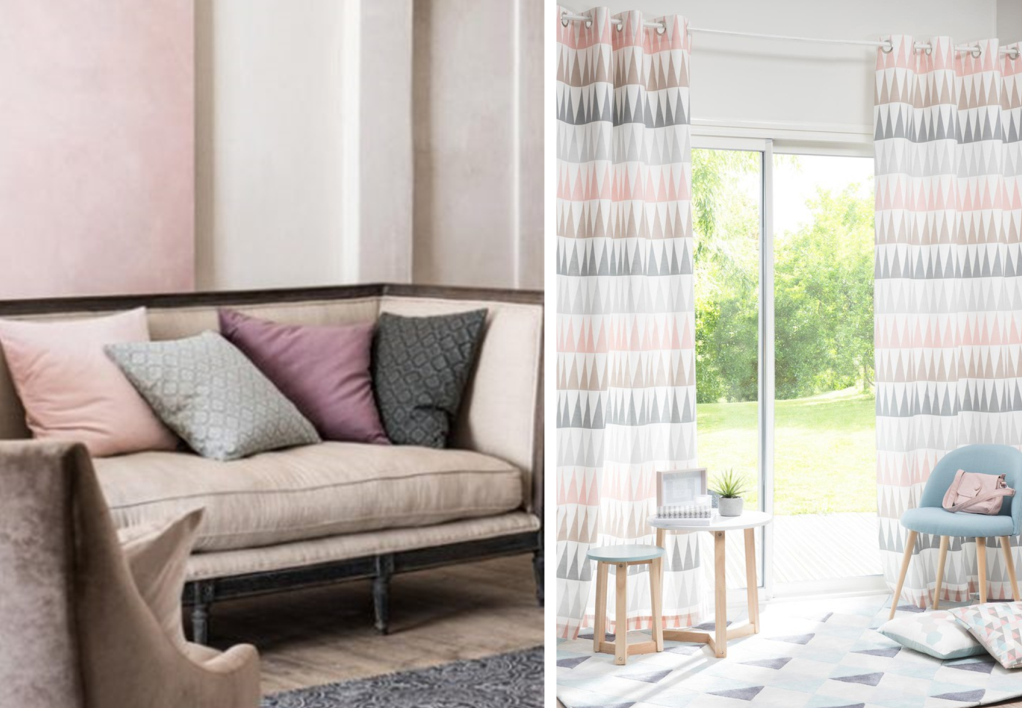 Mixing patterns by shade on curtains, cushions and carpets