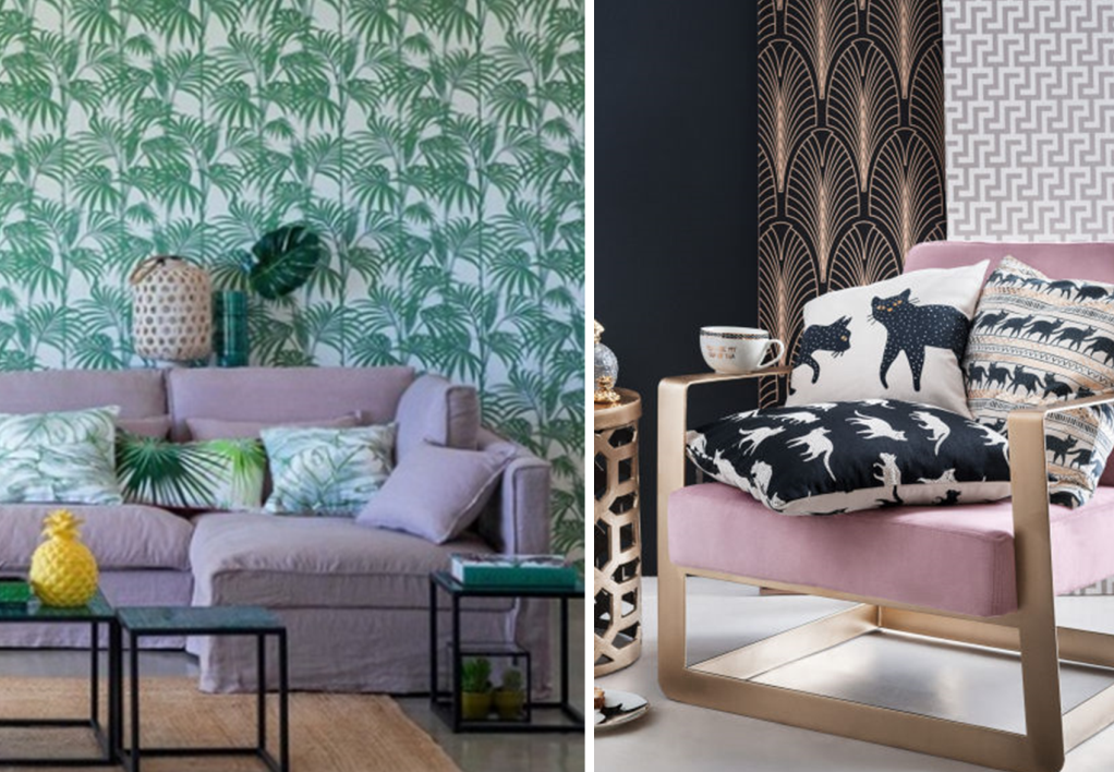 Pattern mixing by style with floral and animal designs