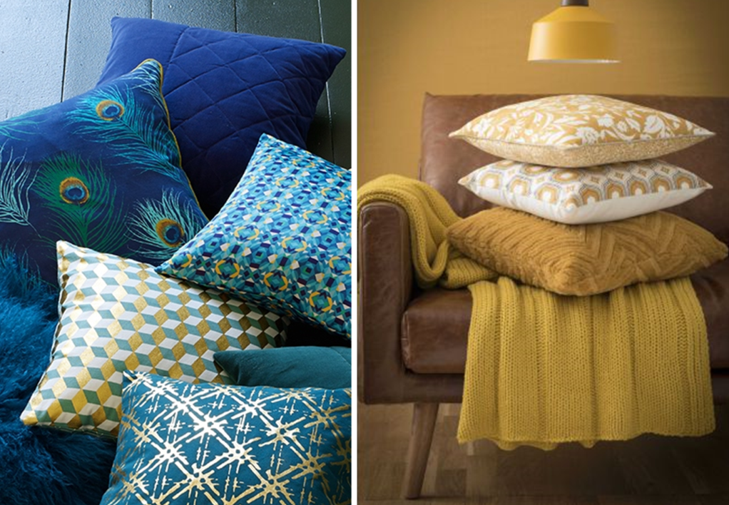 Blue and yellow cushions with different patterns