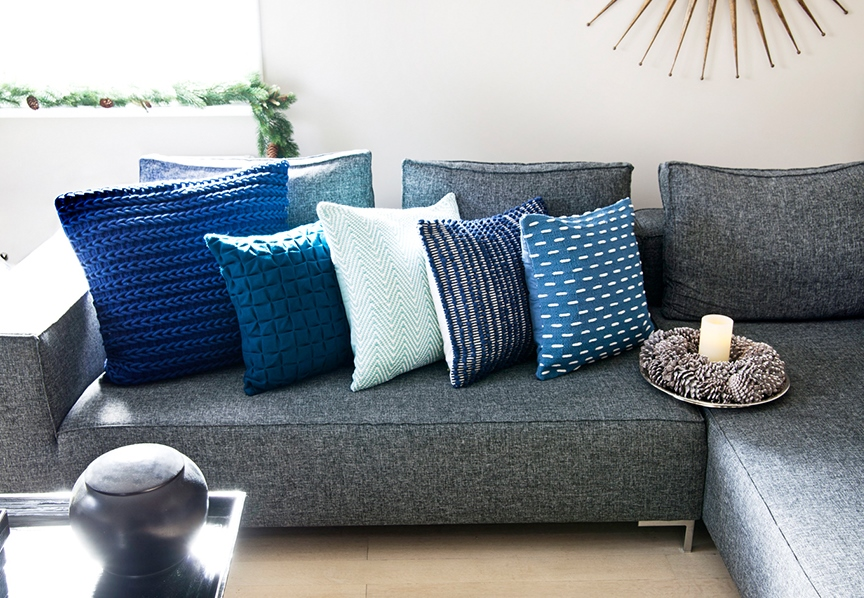 Blue cushions with different patterns