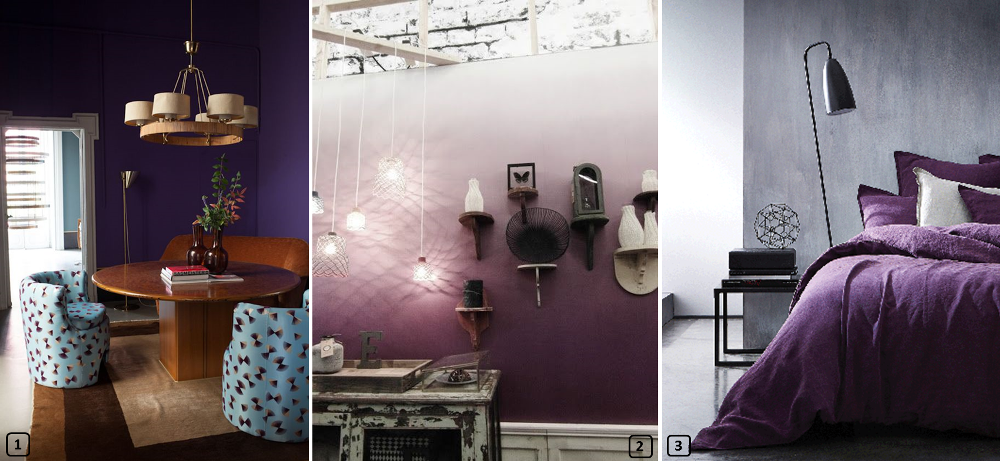 Different ways to use purple color on walls