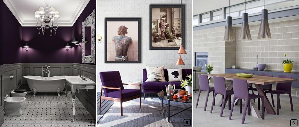 Purple color in ethnic, baroque and industrial interiors